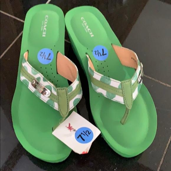 Coach Shoes - Coach Green Wedge Flip Flops